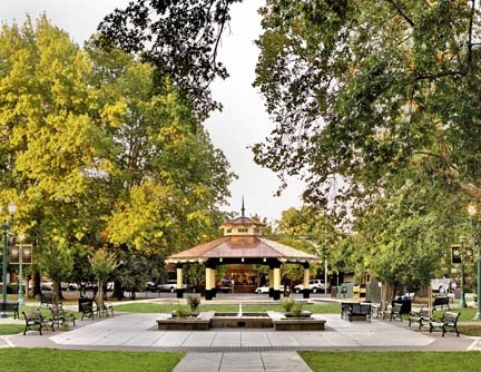 A gazebo surrounded by trees in the center of a city park